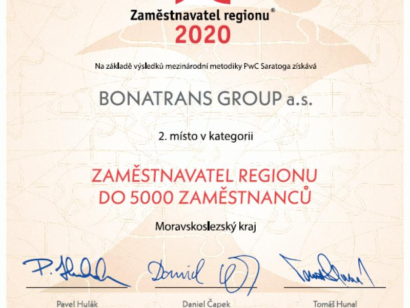 News - Employer of the Year 2020 of Moravian – Silesian Region: 2nd place